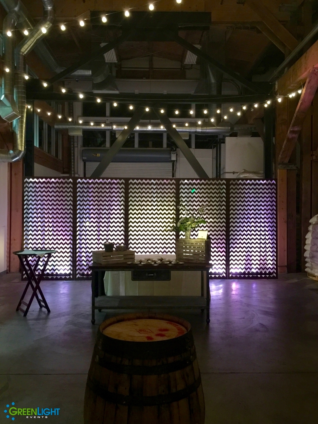 Custom backdrop at Westland Distillery by GreenLight Events
