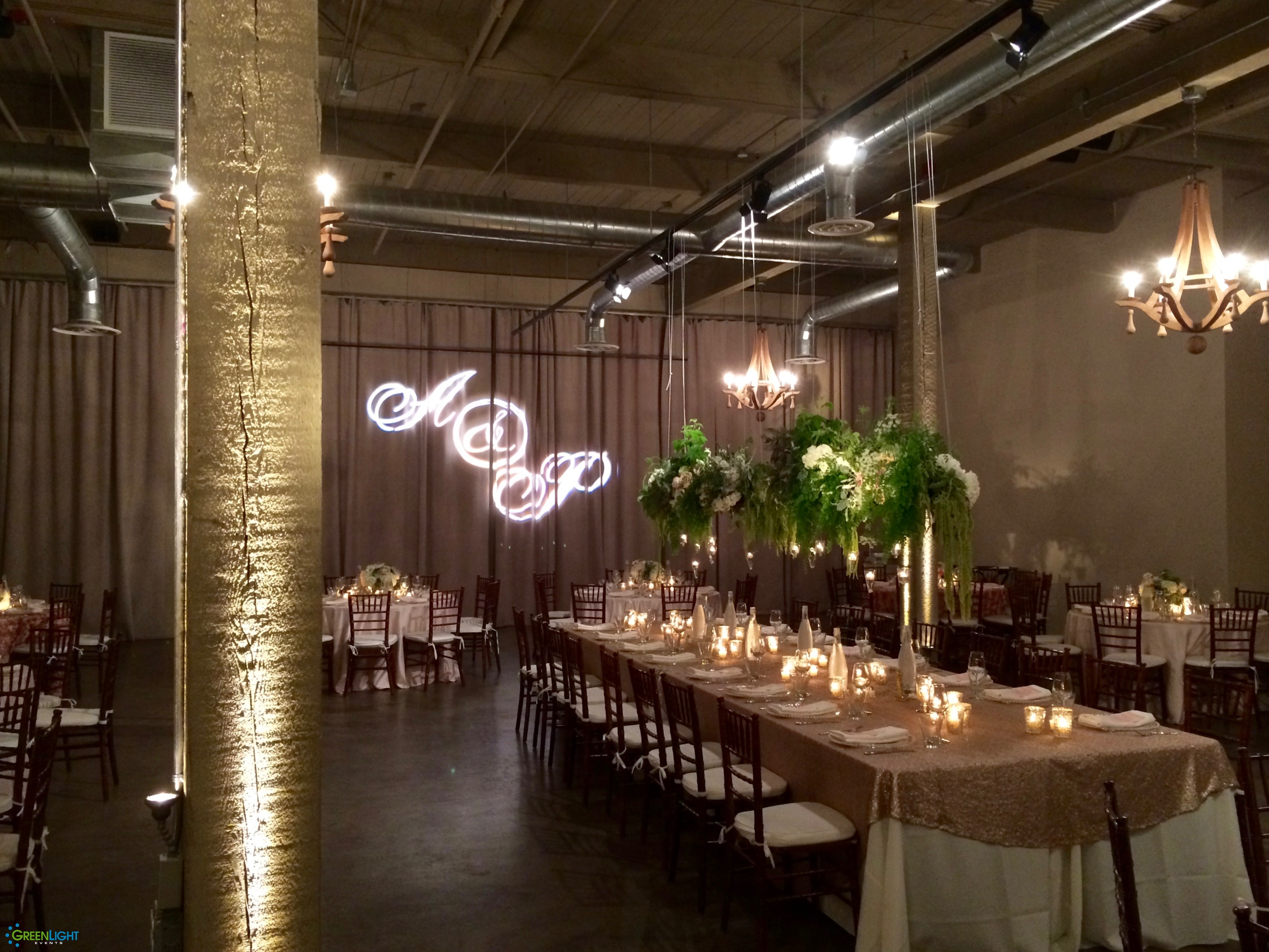 Wireless pin-spot detail lighting at Foundry SoDo by GreenLight Events