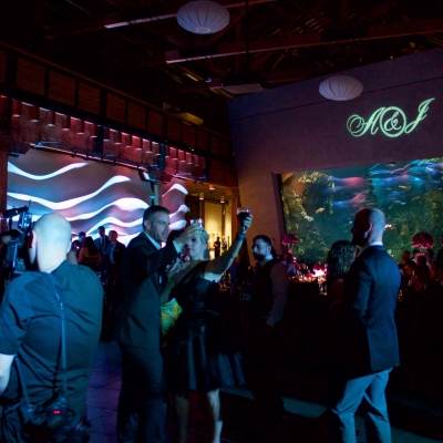 Custom gobo monogram at the Seattle Aquarium by GreenLight Events