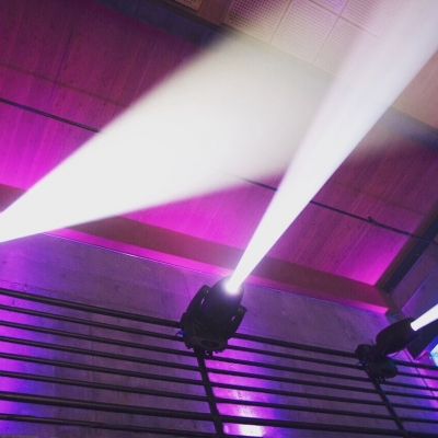 Moving head lights at the Fremont Foundry by GreenLight Events