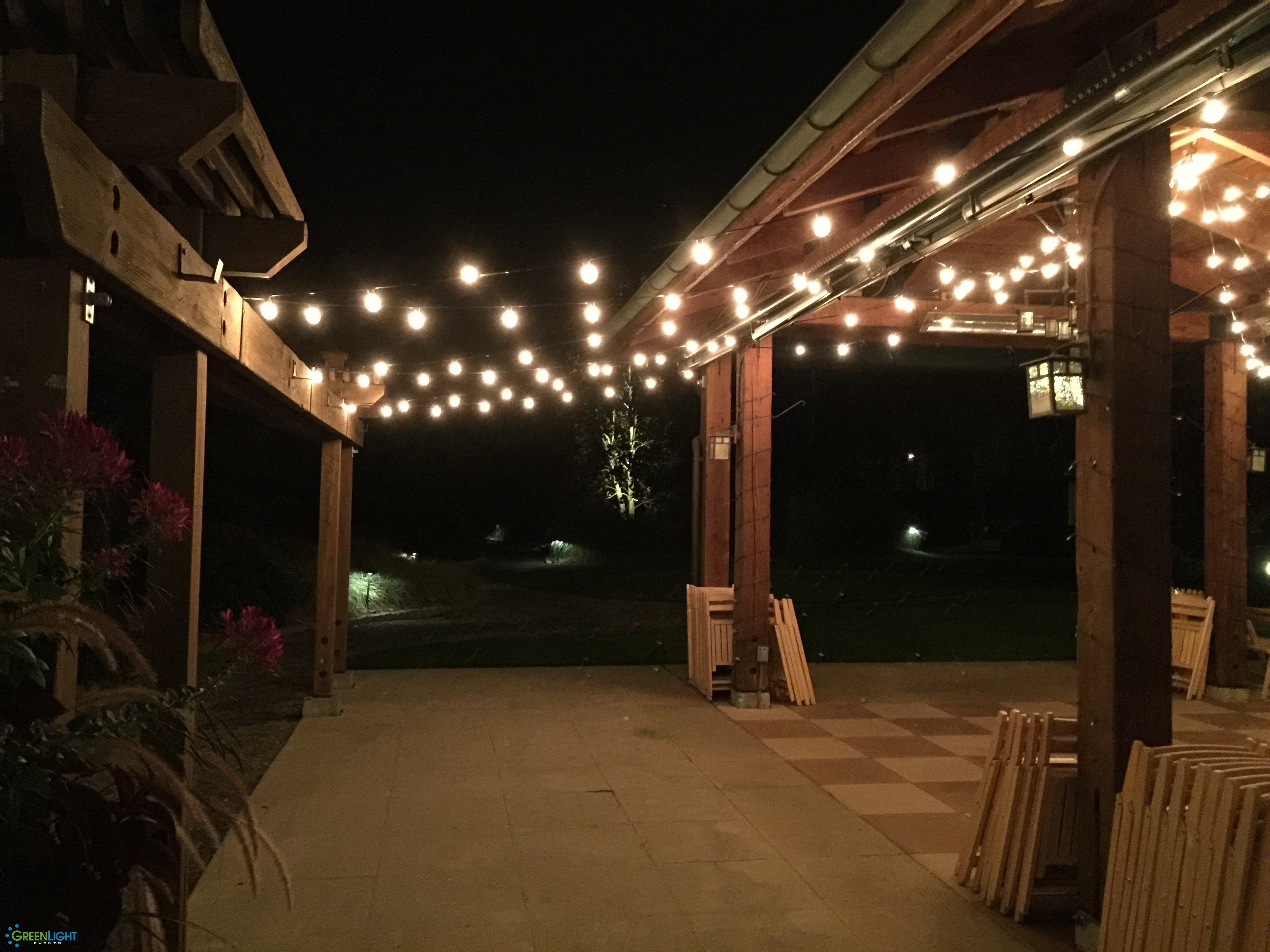 String lighting at Willows Lodge by GreenLight Events