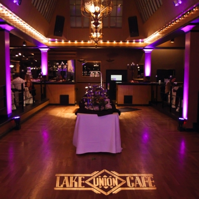 Custom gobo monogram at Lake Union Cafe by GreenLight Events